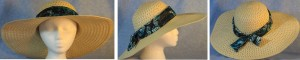 """Wide brim hat is tan, paper braid with 5"""" brim shown with butterfly band"""