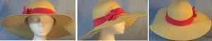 """Wide brim hat is tan, paper braid with 5"""" brim shown with pink band"""