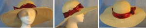 """Wide brim hat is tan, paper braid with 5"""" brim shown with red band"""