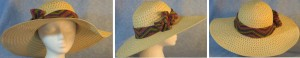 """Wide brim hat is tan, paper braid with 5"""" brim shown with V's band"""