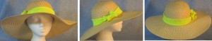 """Wide brim hat is tan, paper braid with 5"""" brim shown with yellow band"""