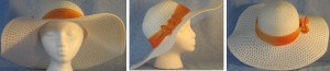 """Wide brim hat is white, paper braid with 5"""" brim shown with orange band"""