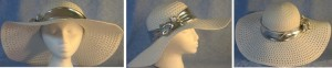 """Wide brim hat is white, paper braid with 5"""" brim shown with silver band"""