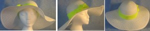 """Wide brim hat is white, paper braid with 5"""" brim shown with yellow band"""