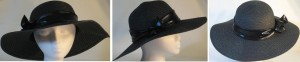Wide brim hat in black with sequins and black band
