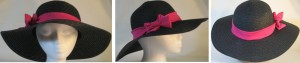 Wide brim hat in black with sequins and pink band