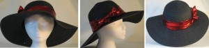 Wide brim hat in black with sequins and red band