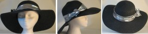 Wide brim hat in black with sequins and silver band