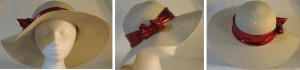 Wide brim hat in tan with sequins and red band