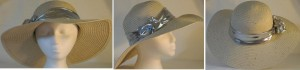 Wide brim hat in tan with sequins and silver band