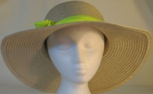 Wide brim hat is tan with sequins shown with yellow band