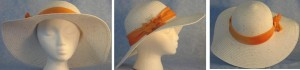 Wide brim hat in white with sequins and orange band