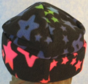 Long Hat in Blue to Pink Stars Print - back