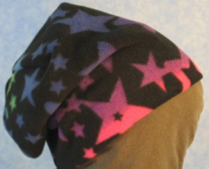 Long Hat in Blue to Pink Stars Print - unrolled