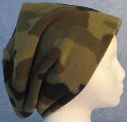 Long Hat in Olive Brown Camo-Adult L
