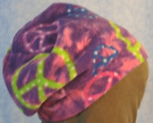 Long Hat in Purple Peace Signs Print - unrolled