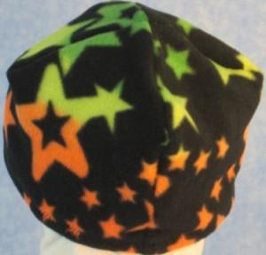 Short Cap in Orange Stars Print - Single Layer - back