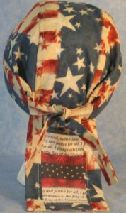 Do Rag in Patriotic Print with Patchwork of Pledge of Allegiance and Fireworks in a Horizontal Manner on Tail-back