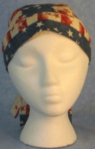 Do Rag in Patriotic Print with Patchwork of Pledge of Allegiance and Fireworks in a Horizontal Manner on Tail-front