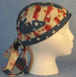 Do Rag in Patriotic Print with Patchwork of Pledge of Allegiance and Fireworks in a Horizontal Manner on Tail-right