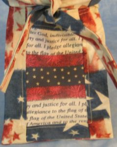Do Rag in Patriotic Print with Patchwork of Pledge of Allegiance and Fireworks in a Horizontal Manner on Tail-tail