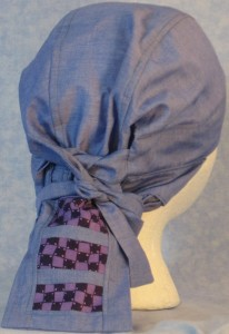 Hair Bag in Blue with Purple Check Tail - back