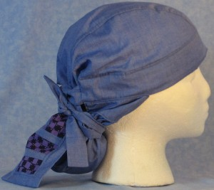Hair Bag in Blue with Purple Check Tail - side