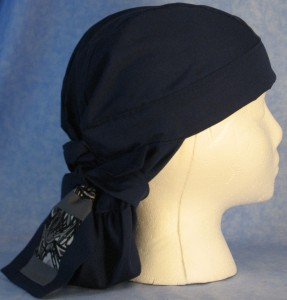 Hair Bag in Navy with Oily Black Tail - side