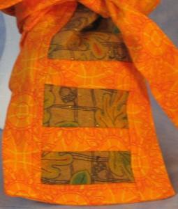 Hair Bag in Orange Sun Design with Brown Acorn Tail - tail