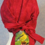 Hair Bag in Rose with Goldfinch Tail - back