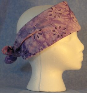 Head Wrap in Purple - Worn as Band Tied in the Back