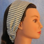 Headband in blue and white railroad material - side
