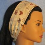 Headband in tan cat print - side