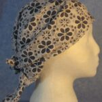 Head Wrap in Blue and White Flower Lace - Blue Out