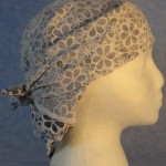 Head Wrap in Blue and White Flower Lace - White Out