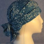 Head Wrap in Blue and White Speckle Material