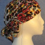 Head Wrap in White with Pink, Yellow and Black Speckles - Black Out