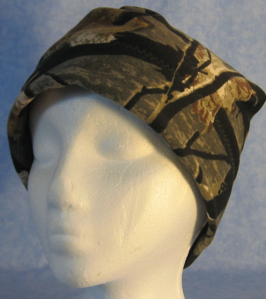 Beanie Band Cap in Black Tree Camo-Adult S