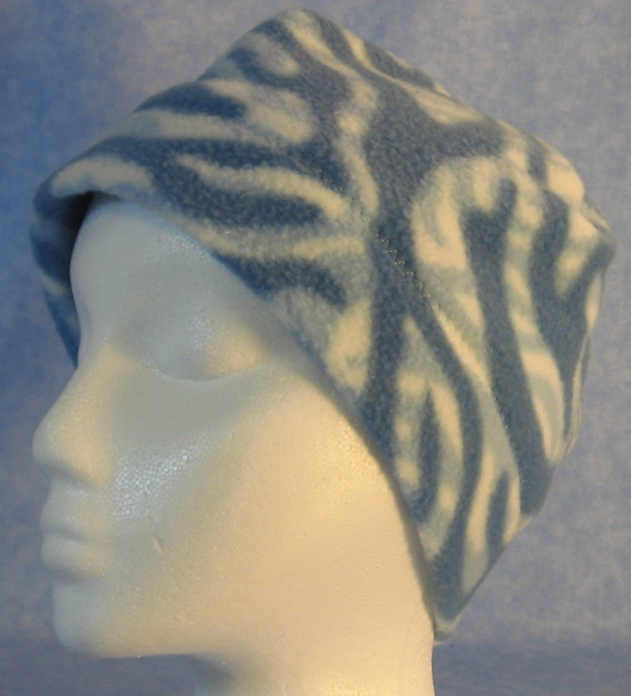 Beanie Band Cap in Blue White Zebra-Youth L-XL