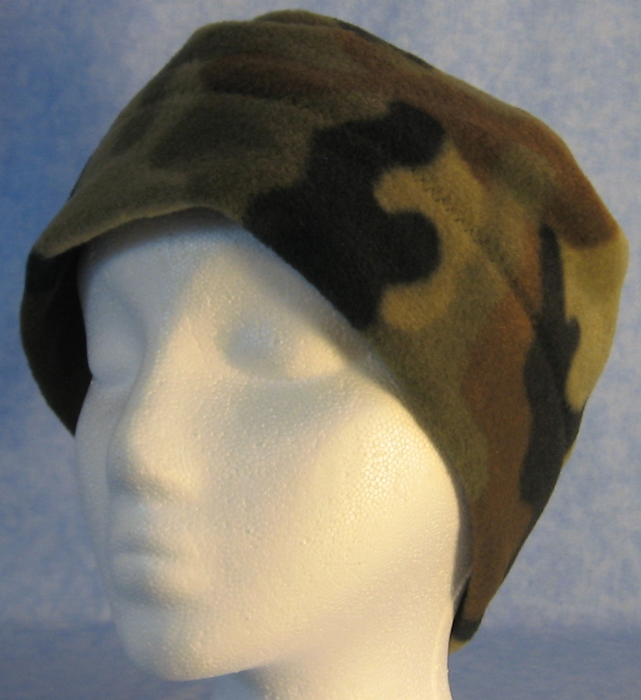 Beanie Band Cap in Olive Brown Camo-Adult S