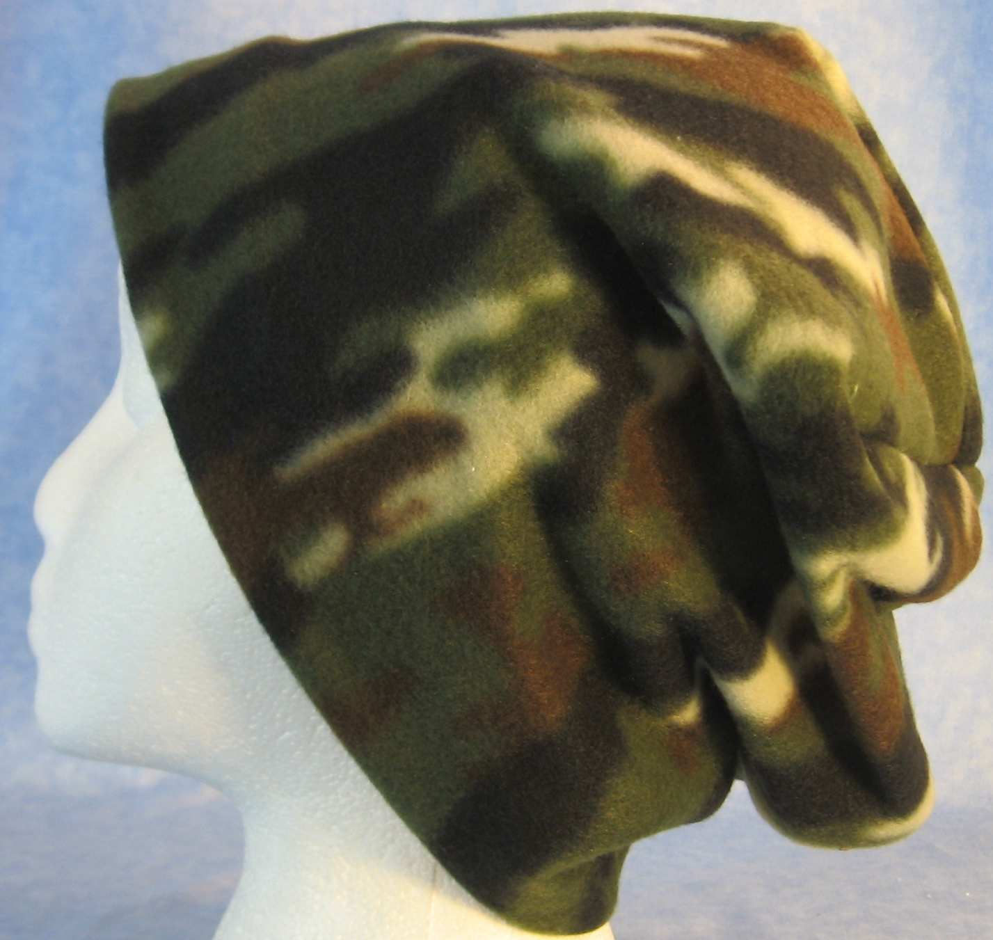 Long Hat in Small Olive Brown Camo-Adult 2XL