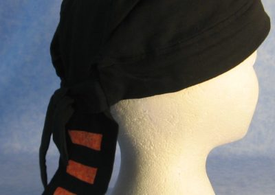 Do Rag in Black with Orange Flower Tail - Adult - side