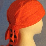 Do Rag in Orange Curls with Black Rose Tail - Adult - side