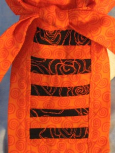 Do Rag in Orange Curls with Black Rose Tail - Adult - tail