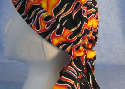 Do Rag in Yellow and Red Flame with Black Tail - Adult - side