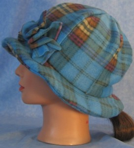 Cloche with Flower Hat in Blue and Brown Plaid - left