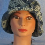 Cloche with Flower Hat in Blue Rope - front