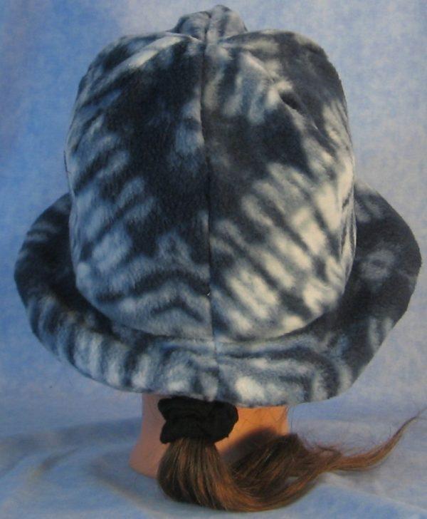 Cloche with Flower Hat in Blue Tie Dye Print - back