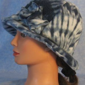 Cloche with Flower Hat in Blue Tie Dye Print - side