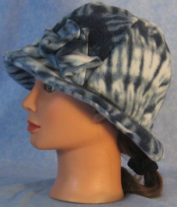 Cloche with Flower Hat in Blue Tie Dye Print - side